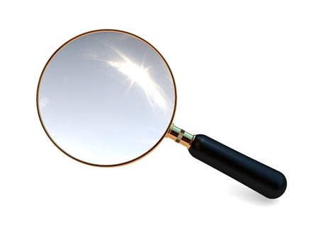 Magnifier close up on a white background  Stock Photo