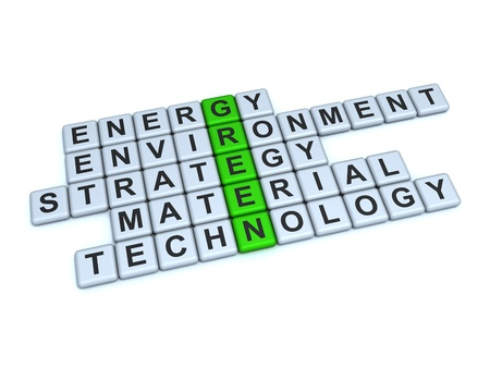 Word Green and related with it words  energy, environment, strategy, material, technology, on a white background  photo