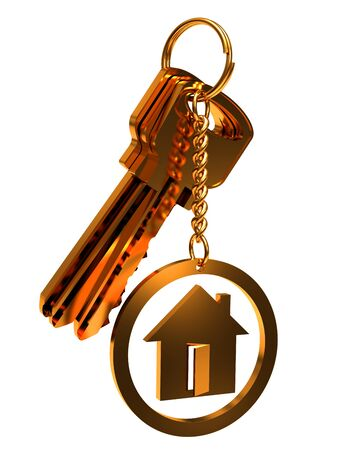 House keys, close-up on a white background. Stock Photo - 15128839