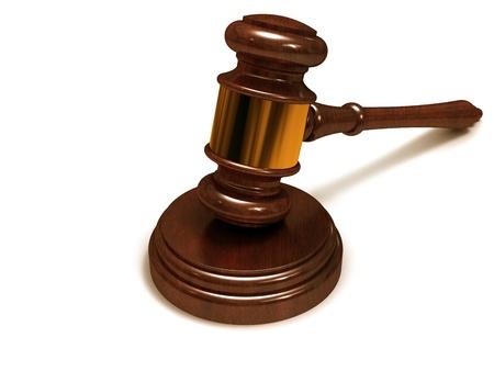 Judges gavel, close-up on a white background. Stock Photo - 15830527