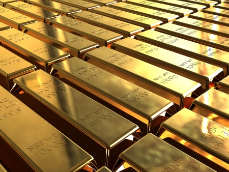lingotes de oro: Lingotes de oro apilados en filas ordenadas.