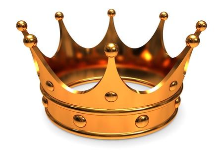왕: 황금 왕관, 흰색 배경에 근접.