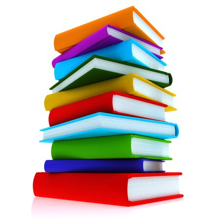 A stack of colorful books, close-up on a white background.