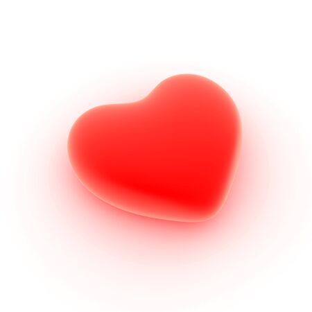 Perfect heart flaring from love, close up on a white background. Stock Photo
