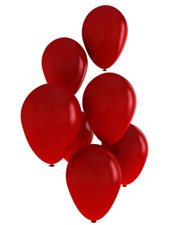 Seven magnificent red balloons, close-up on a white background.