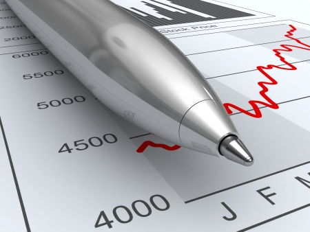 Close-up pen on stock price chart and income schedule.