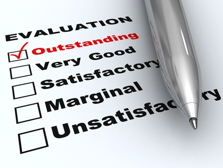 adulation: Outstanding evaluation. Pen on evaluation form, with Outstanding checked. Stock Photo