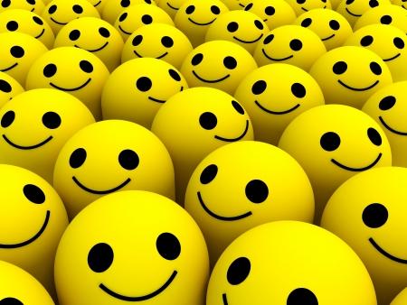 多くの明るい黄色の幸せな笑顔。 写真素材