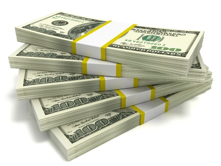 Five stacks of hundred dollar bills, close-up on a white background
