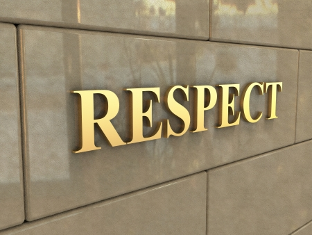architectural feature: The word Respect is chiseled by gold letters on a stone wall