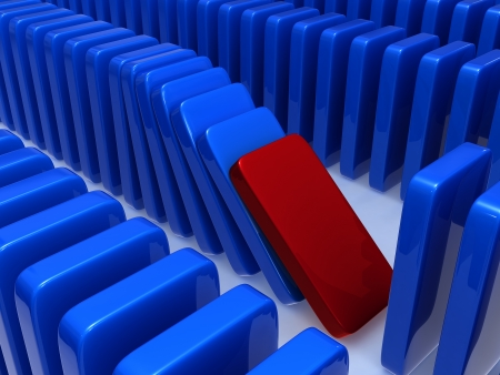 The concept of instability expressed through a principle of dominoes, falling of one of dominoes leads to falling of the others in this series  Stock Photo