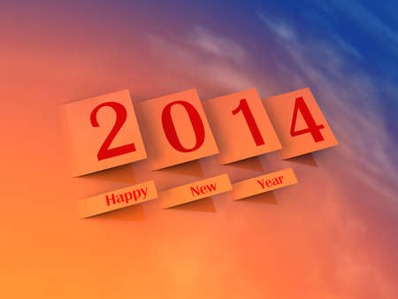 2014 Happy New Year  Stickers with number 2014