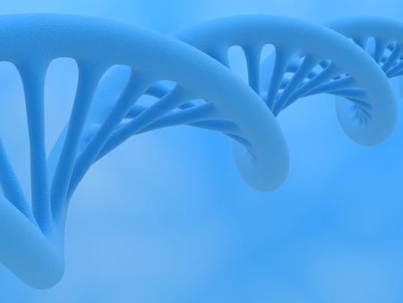 DNA strand  DNA is a double helix formed by base pairs attached to a sugar-phosphate backbone, close up on a blue background