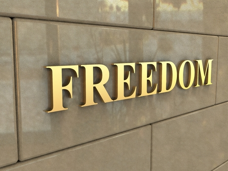 chiseled: Word Freedom  The word Freedom is chiseled by gold letters on a stone wall