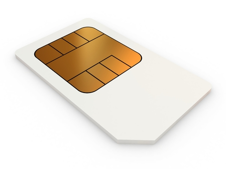 Mini-SIM card, close-up on a white background