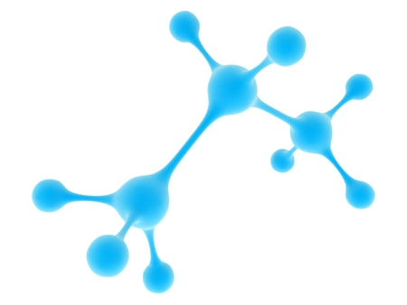 Molecule of propane. Molecular structure of propane, close-up on a white background. Stock Photo