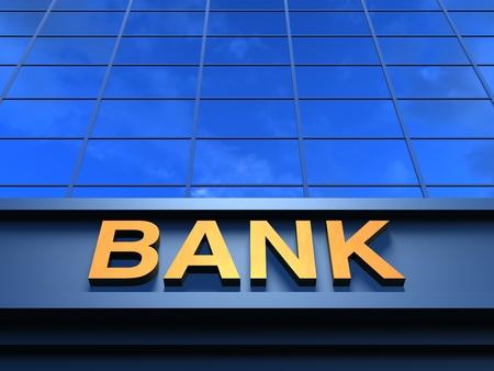 Bank building. Modern building with an inscription Bank on a facade.
