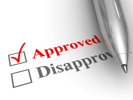 Approved status. Pen on evaluation form, with approved checked. Stock Photo