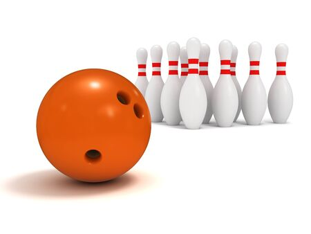 bowling strike: Ball and ten pin bowling, a close up on a white background. Stock Photo