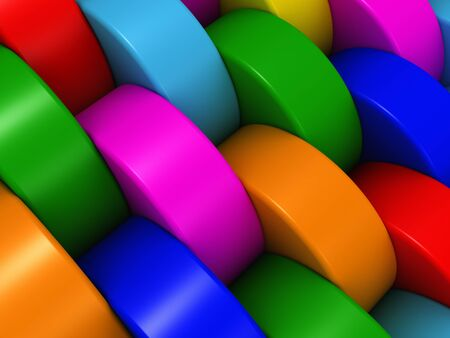 Multicolored cylinders. Abstract background pattern made of the multicoloured rounded cylinders.