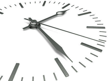 Concept of time. Clock face with arrows, close-up on a white background. Stock Photo