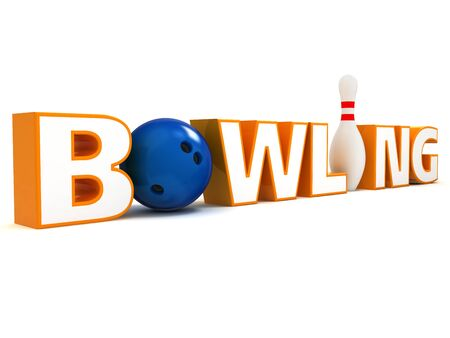 sphere standing: Word Bowling. The stylized word Bowling with a ball instead of a letter O and pin instead of I.
