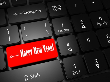 New Year holiday concept. Laptop keyboard with button Happy New Year close-up. Stock Photo