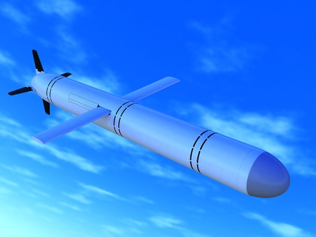 launched: The Russian high-precision cruise missile in flight, a close up.