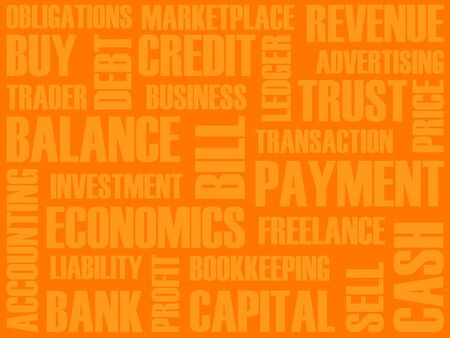 obligations: Business words collage. Business background, collage words of an economic, financial theme.