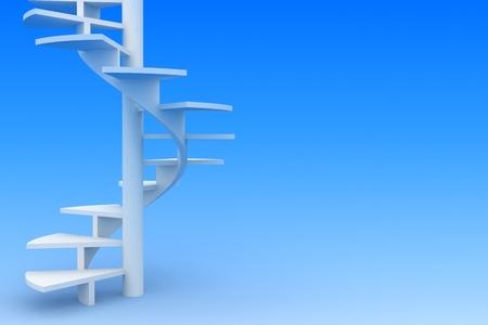 개발의 개념입니다. 화이트 나선형 계단 상업 또는 영적 개발, 완벽, 성장, 교육, 포부 위쪽, 파트너십에 초대의 상징으로. 스톡 콘텐츠