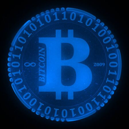 up code: Conceptual icon bitcoin - virtual digital crypto-currency, front view, close-up on a black background.