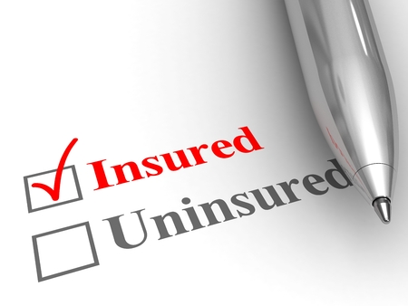 Insured status. Pen on form to answer if you are covered by an insurance policy for medical, auto, homeowner, life protection or another, with insured checked. Stock Photo - 53002535