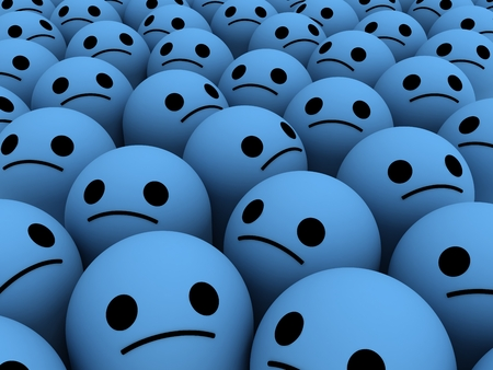 credo: Many sad smiles. The concept unhappy, unsatisfied customers, users, clients.