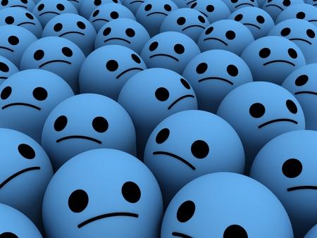 Wiele smutne uśmiechy. Koncepcja nieszczęśliwych, niezadowolonych klientów, użytkowników, klientów.