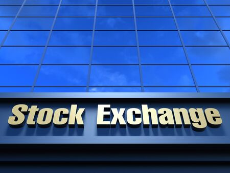 Stock Exchange building. Modern building with an inscription Stock Exchange on a facade. Stock Photo