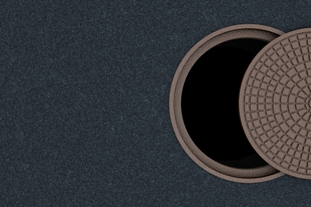 Concept of danger, safety can not be half or partially. Not completely closed cover of a sewer manhole, top view.