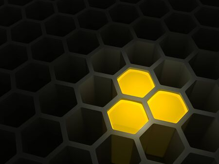 Concept of the beginning of accumulation of the capital, money, riches, something valuable as honeycombs with several cells filled with honey, 3D illustration. Stock Photo