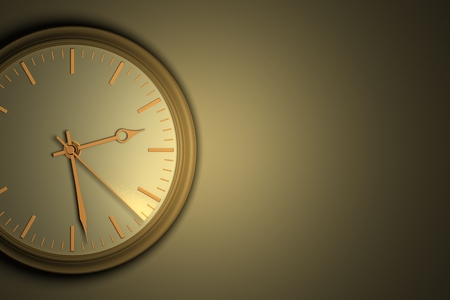 Time leaves without a delay, concept. Closeup of wall clock with copy space, a second hand a leaving light trail, 3D illustration. Stock Photo
