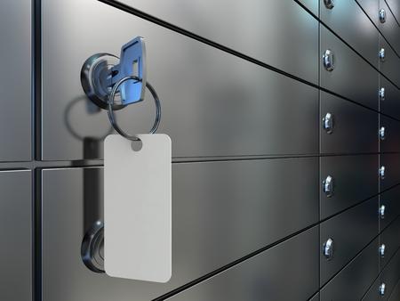 Kluisjes in de bank, een close-up van een sleutel met een blanco label in het slot van een veilige cel, 3D-afbeelding.