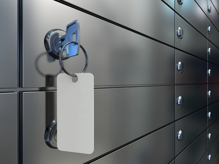 Safe deposit boxes in bank, a closeup of a key with an blank label in lock of a safe cell, 3D illustration.