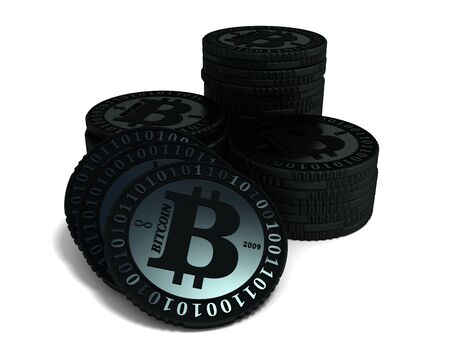 Stacked bitcoin coins- virtual digital crypto-currency, closeup on white background, 3D illustration.