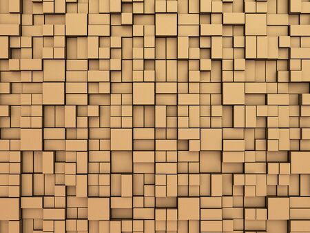 brushed: Abstract random boxes background. Abstract background made of boxes of the cubic and rectangular shape in a random way pushed on different depth, 3D illustration.