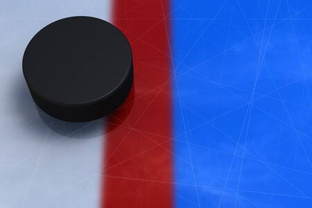 Goal. Hockey puck on ice crossed a red line, top view, close-up, a hockey background, 3D illustration.