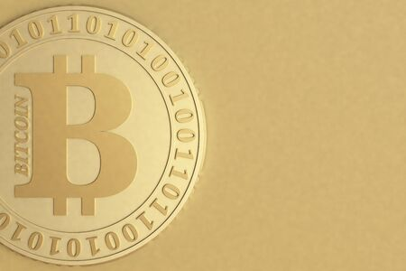 Bitcoin coin closeup on a blurred golden background, 3D illustration. Stock Photo