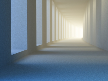 Concept of future. The covered gallery or portico, sunlight penetrates between columns and behind turns bright blur of light, as a symbol of the future, progress, success. 3D illustration.
