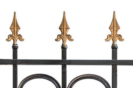Isolated black and gold decorative iron fence Banco de Imagens