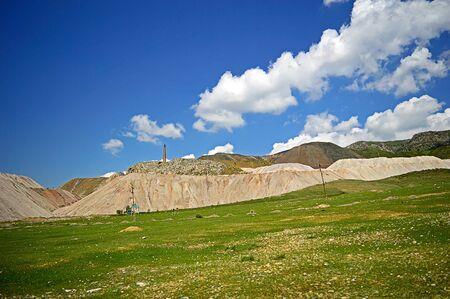 ore: Mercury ore stockpiles, Khaidarkan town, Kyrgyzstan