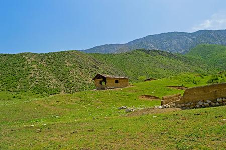 sheepfold: Old sheepfold in the mountains, Katran mountain range, Kyrgyzstan Stock Photo