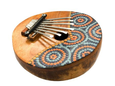 traditional african musical instrument kalimba isolated on white Stock Photo