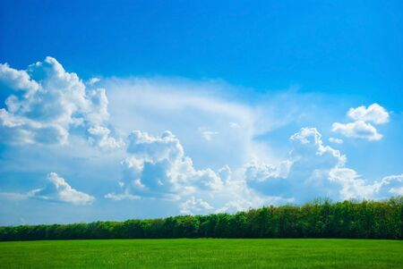 beautifull landscape with sky, clouds and meadow photo